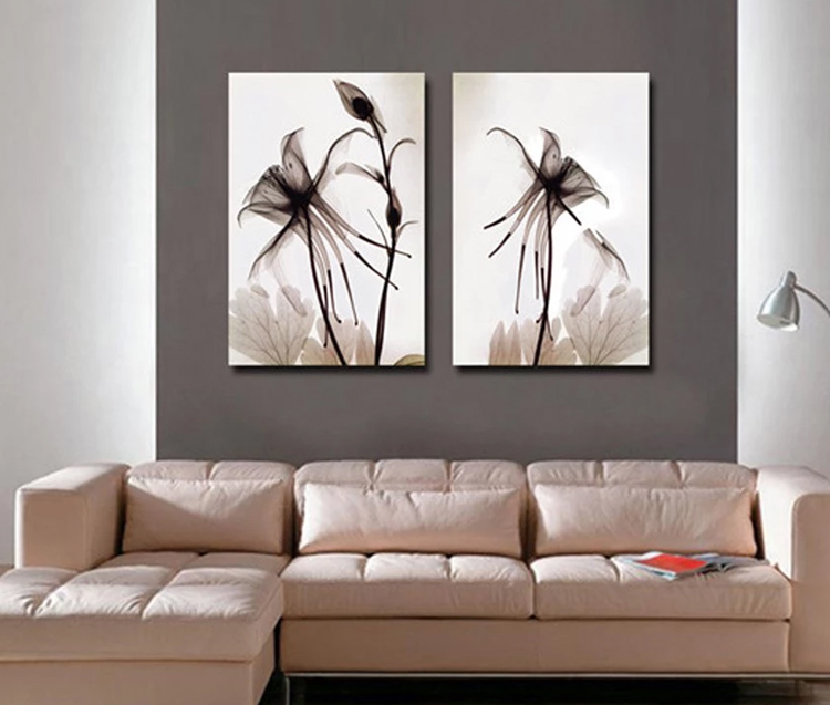 2 panel canvas painting abstract unique flower wall picture wall art