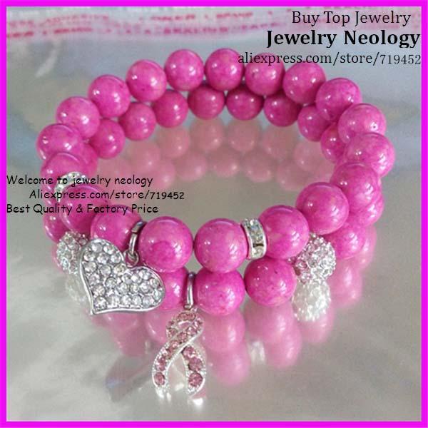 10pcs/lot High Quality Pink Glass Bead Bracelet Pink Rhinestone Breast  Cancer sign and Heart Pendant Charm Women Bracelet 10mm