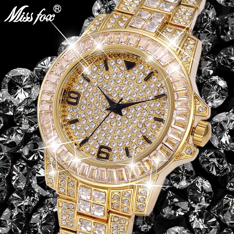 Watch Luxury Golden Business Men Watch Top Brand Fashion Full Diamond Casual Unisex Wristwatch Waterproof Watches фото