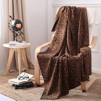 Leopard Knit Throw Blanket 100% Cotton