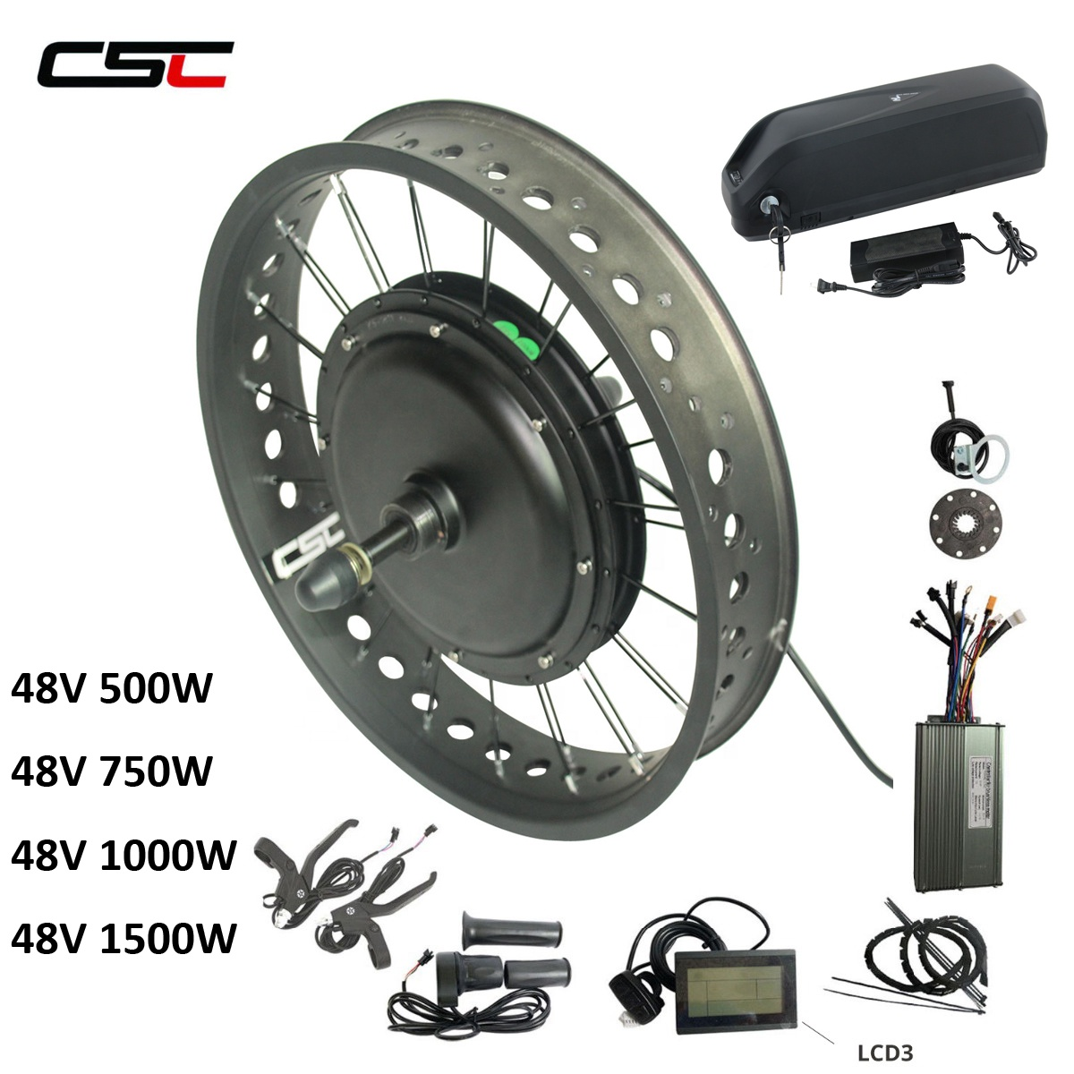 CSC Free Shipping 20'' 24'' 26'' Electric Fat Tire Bike Beach Snow Bicycle e bike 48v 750w Hub Motor Conversion Kit with Battery