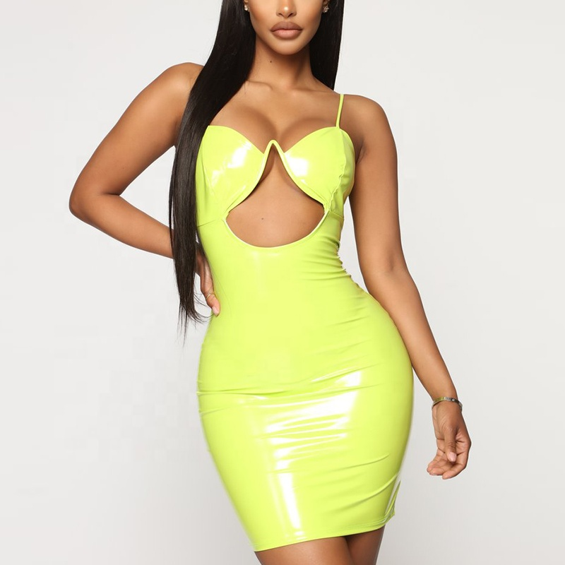 Hot sale sexy straps lime dresses cheap tight mini latex bodycon dress for women, Lime/customized