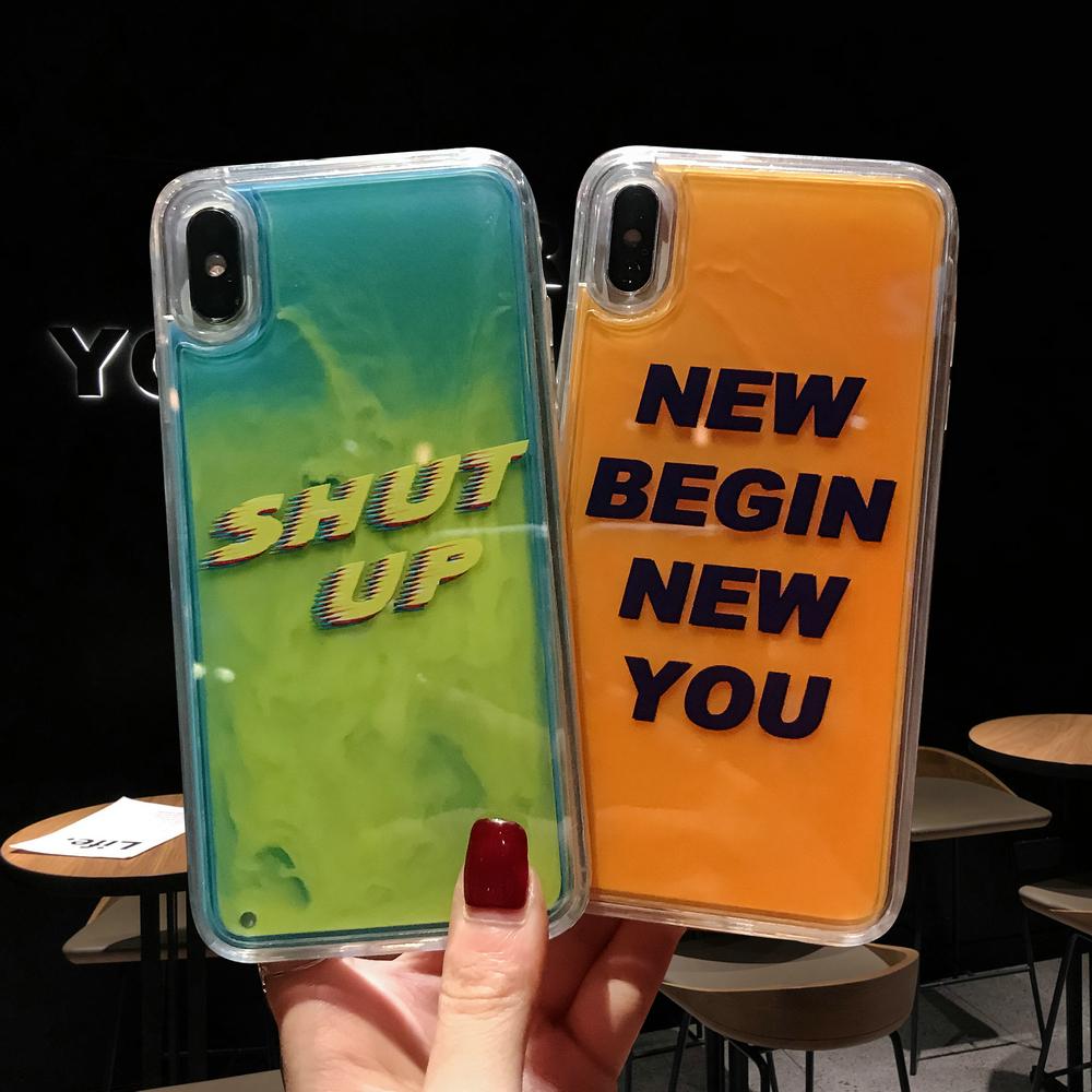 New Case Neon Liquid Quicksand Back Cover Luminous Sand Liquid Case for iPhone XS max