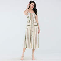 Custom 2019 New Style Latest Button Design Stripe Print Sleeveless with pocket Dress For Women