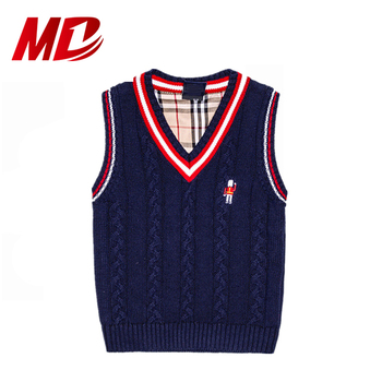 Wholesale Elementary Children Sleeveless Sweater Waistcoat Outfits Knitted Sweater Vest