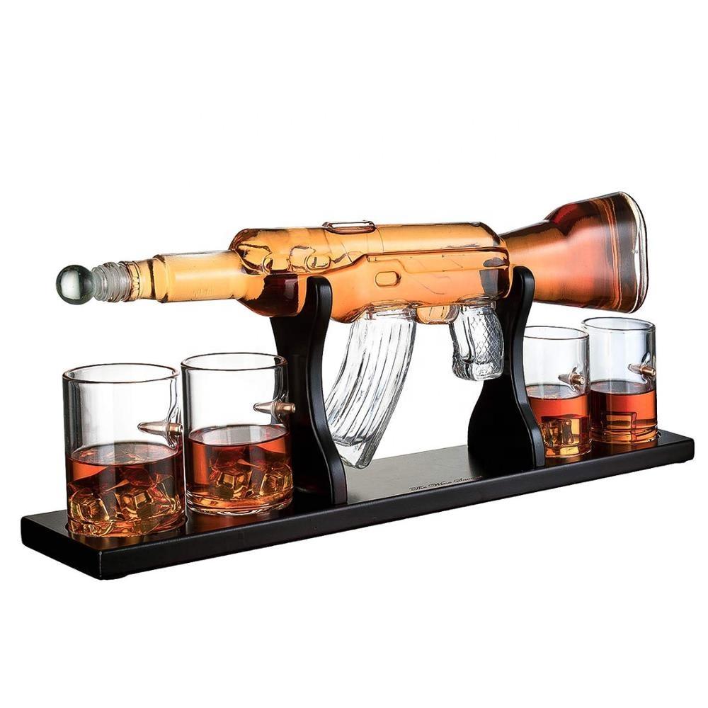 1000ml AK 47 Luxury Large Creative Rifle Gun Whiskey Decanter Set with Wooden Base