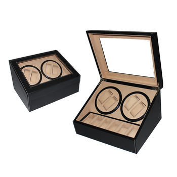 4+6 Slots Pu Leather Automatic Wooden Rotary Watch Box