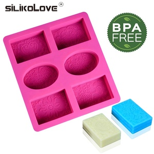 Diy Silicone 3D 6 Forms Oval Rectangle Soap Mould Handmade Craft Flowers Bathroom Kitchen Soap Mold