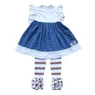 2pcs solid color tunic and stripe long pant baby girls clothes sets wholesale boutique children clothes