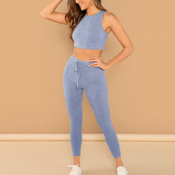 new listing women solid crop & drawstring legging set