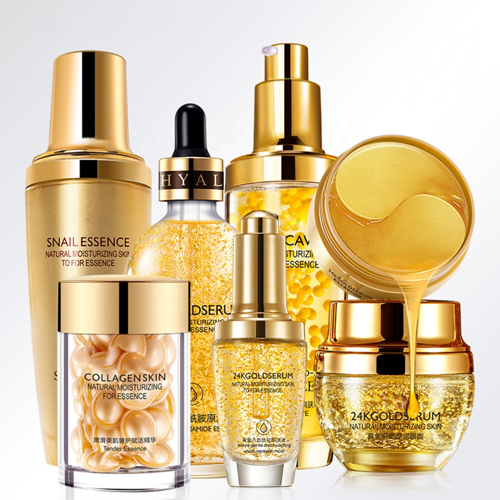 Kit de soin du visage de luxe de marque privée cadeau rafraîchissant hydratant blanchissant 24k or ensemble de soins de la peau du visage