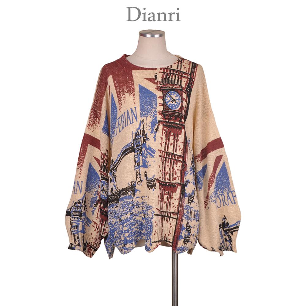 large lantern sleeve wave hem loose oversize thin summer style animal custom print women sweater