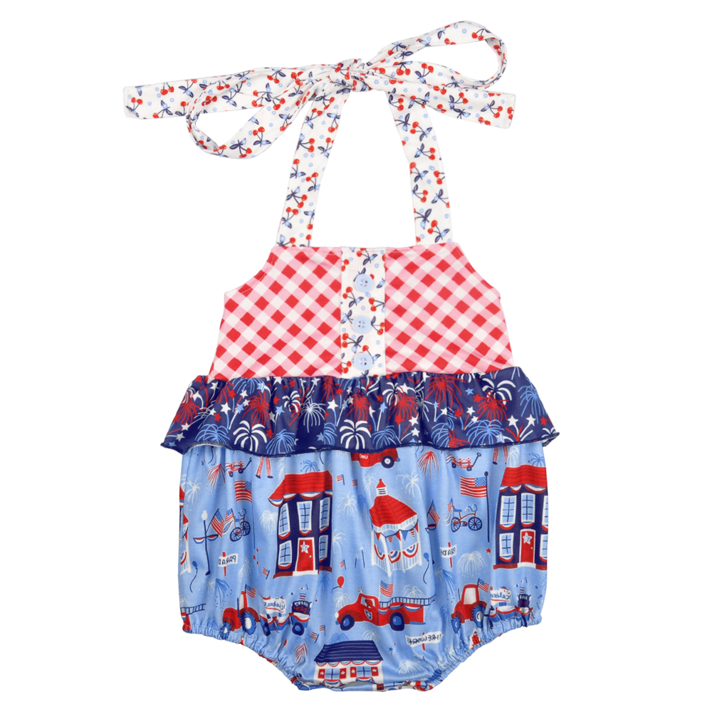 Summer Infant Baby Boutique Romper CONICE NINI 4th of July Baby Girls Clothes Ruffle Romper Girl romper Bubble фото