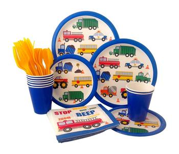 Cars Trucks Birthday Party Supplies Pack Bundle Includes Paper Plates, Napkins, Cups, Cutlery Set For Kids Party Set