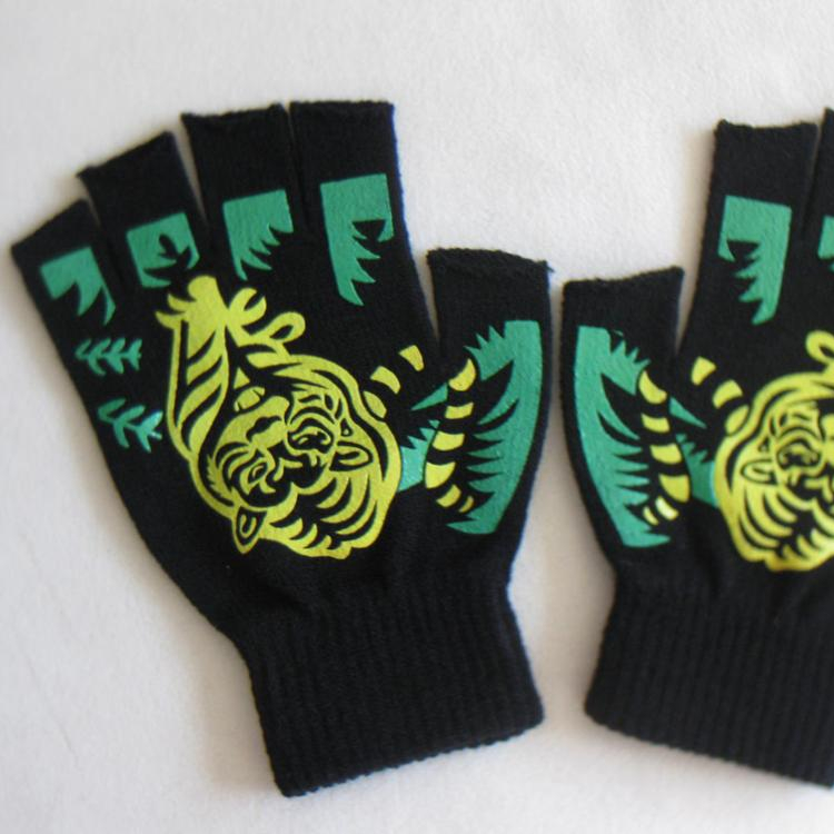 Winter Fashion Tiger Pattern Acrylic knit fingerless gloves