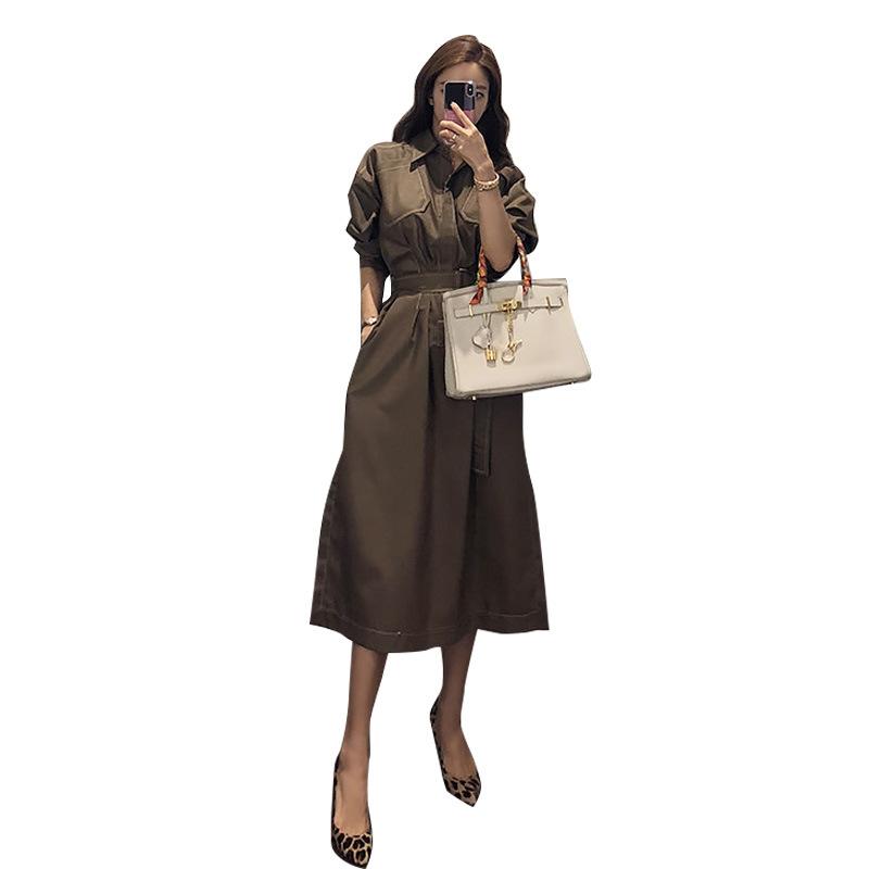 Temperament goddess style polo collar neck pocket shirt waist button tie long dress woman фото