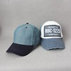 Mass Production 100% Cotton Denim Cap Strapback Distressed Dad Hat With Leather Strap