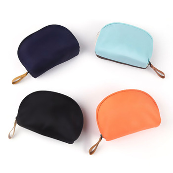 Make Your Own Logo Semi Circle Cosmetics Case Small Makeup Bag Custom Shell Storage Clutch For Men & Women