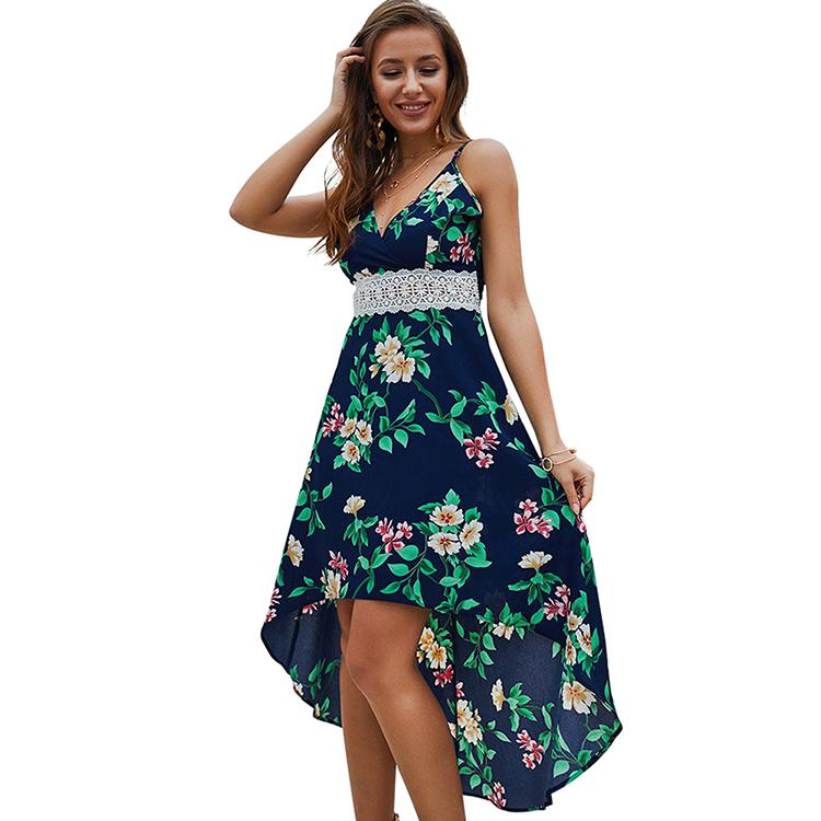 94459ff900fa365 Новинка; летнее платье с цветочным принтом; цвет синий сапфир; длинное  кружевное платье с