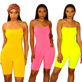Women Fluorescent yellow Sexy Sling Exquisite Strapless Jumpsuit pure color slip jumpsuit