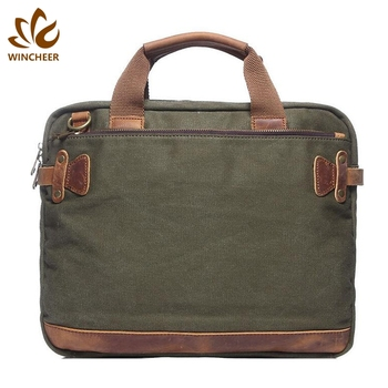 Hot selling army green casual canvas briefcase shoulder men laptop bag