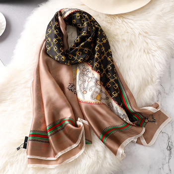 New fancy women custom silk scarf in yiwu high quality lady elegant chain printed hijiab Shawls Islamic Scarves