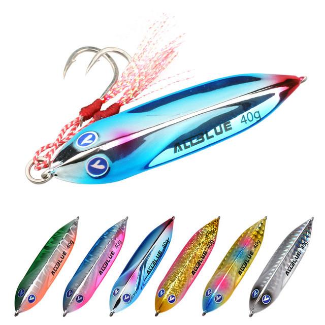 ALLBLUE Casting Shore Fishing Metal Jig 25g 40g 60g Jigging Lure, 6 colors