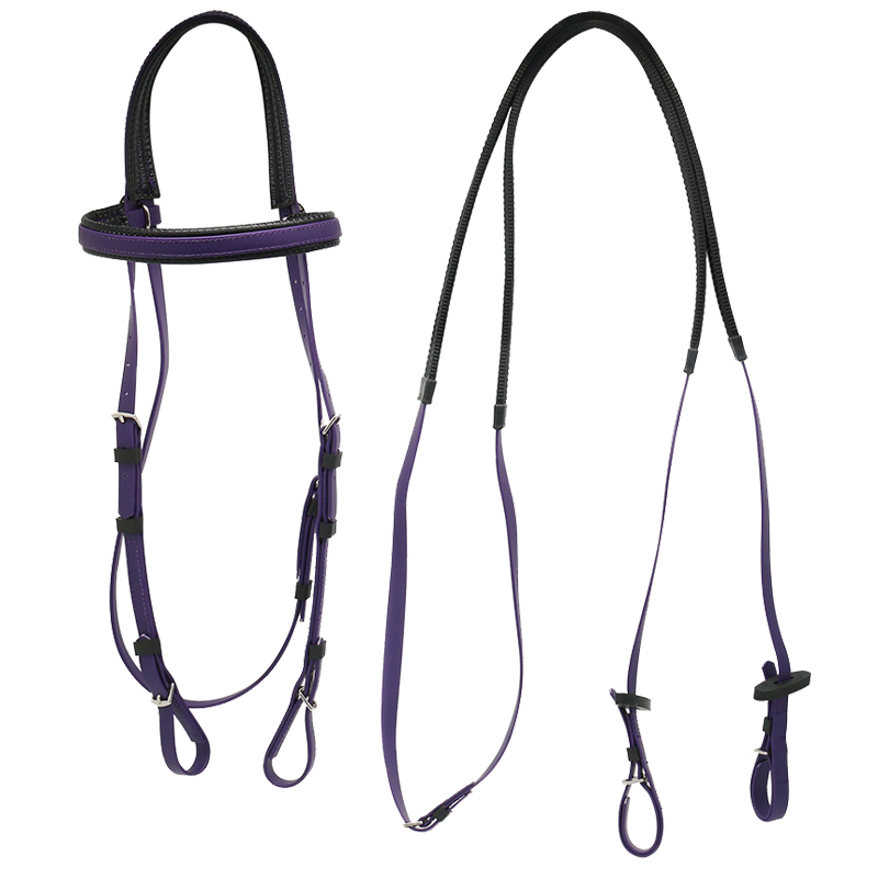 Wholesale PVC Equestrian Horse Headstall Supplies,Cold Resist Horse Racing Equipment With Bridle And Rein, 13 colors option