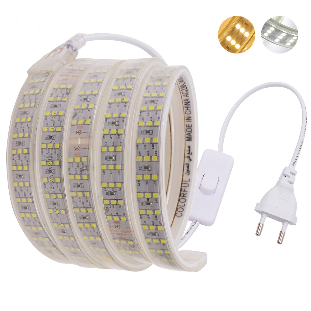 220 V 276 Leds/m SMD 2835 LED Strip Drie Rij Waterdicht Wit Warm Wit Flexibele Led Strip Licht