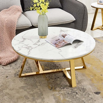 White Marble Top And Gold Metal Base Coffee Side Tables For Art