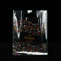 Hot sale simple style custom Christmas gift clear pvc plastic shopping bag with open handle