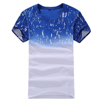 Fashion blue cute yarn cotton printed designs t-shirt clothes for man