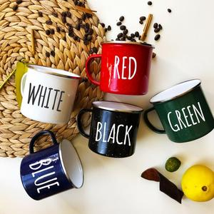 Wholesale custom different color enamel metal mug 12oz mug with silver rim
