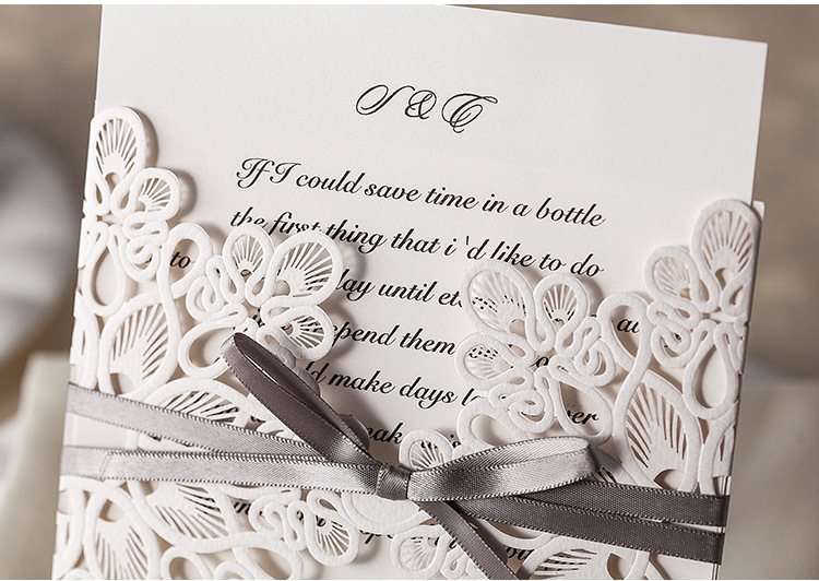 Wholesale Floral Design Pure Love Wedding Invitations With Bow In