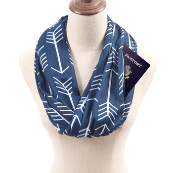 Amazon Hot sell custom print winter plaid leopard arrow infinity scarf with zipper pocket