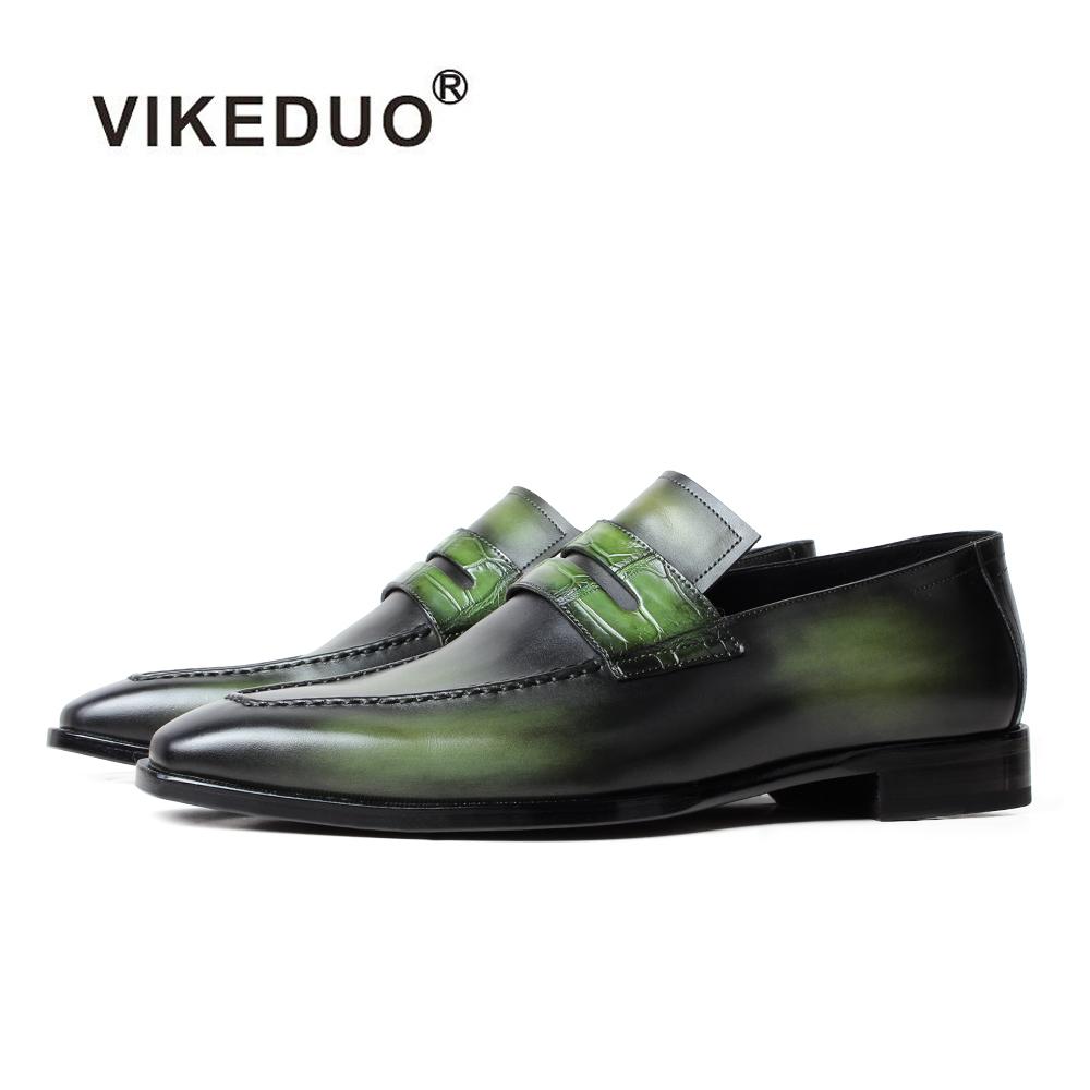 59e644ffc46 Vikeduo hecho a mano Guangzhou última MODA CALZADO colección nueva  colección verde holgazán de los hombres