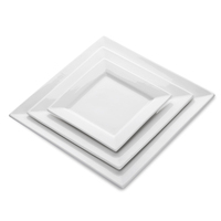 Best Selling Products Crockery Dishes Plates Ceramic Restaurant, White Hotel China Square Dinner Plates>