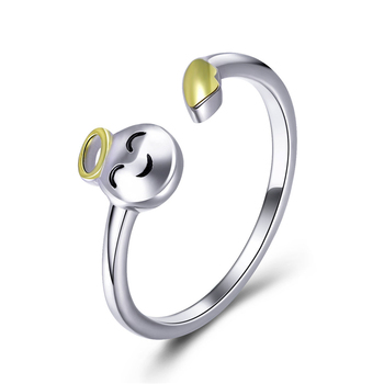 Fashion Style Qings Angel Open Ring 925 Sterling Silver Gold Plated Ring For Girls