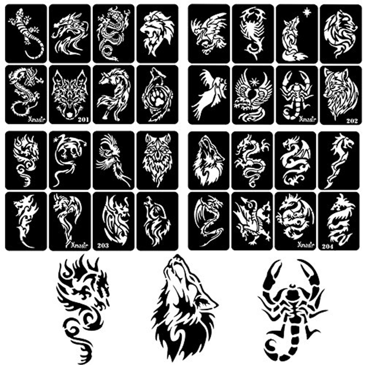 Non-toxic Pet Material Reusable Self Adhesive Beautiful Body Face Customize  Airbrush Paint Temporary Tattoo Templates Stencil - Buy Low Moq Tattoo
