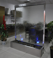 "waterfall fountain 78"" clear glass with led light indoor and outdoor decoration"
