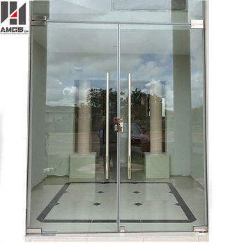 Frameless Commercial Double Glass Doors Double Swing Door