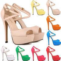 Womens Strappy Platform Peep Toe Stiletto Sandal Ladies High Heel Sandals Shoes
