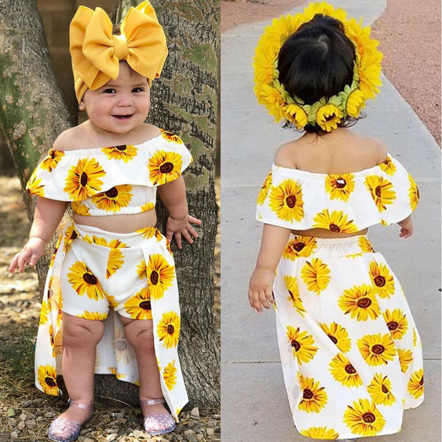 Free Shipping Wholesale children's boutique clothing baby clothes girl 3pcs clothes set Ruffled Top+ pantskirt+band