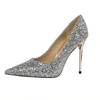 Bradely glittery pointy toe pumps Sexy High heel dress shoes women sequins wedding shoes
