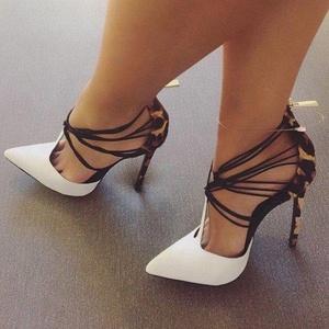 Wholesale stiletto high heel large size leopard print fashion sandals cross straps women's shoes sandals