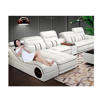 Wholesale Top quality simple corner seat living room genuine Multi-funtional leather sofa with massage