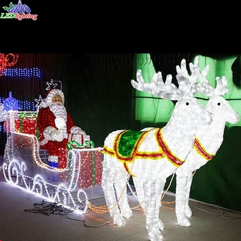 Lighted christmas decoration reindeer sleigh outdoor decor