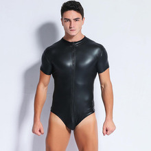 Männer Schwarz Patent <span class=keywords><strong>Leder</strong></span> Body Catsuit Homosexuell Männlichen Vor Zipper Stretchy <span class=keywords><strong>Overall</strong></span>