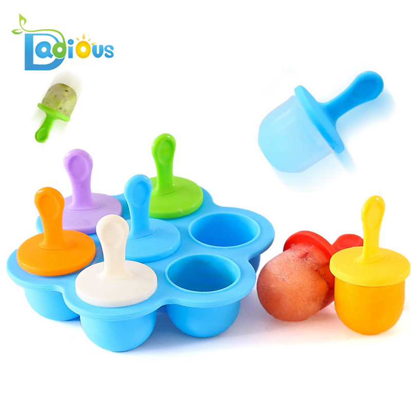 7Cavity Small Popsicle Molds Pop Molds Popsicle Silicone Baby Teething Popsicle Molds фото