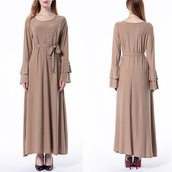 OEM flare sleeve pearls girls abaya trendy modern islamic clothing